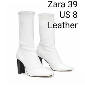 Zara stretch leather booties US 8 ( 39)